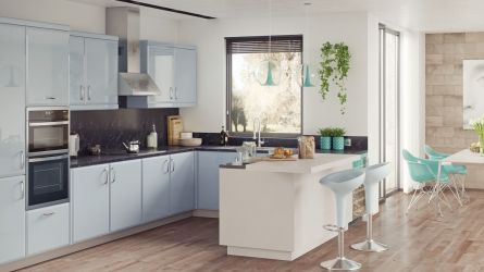 Milano kitchen - high gloss denim and super matt cashmere