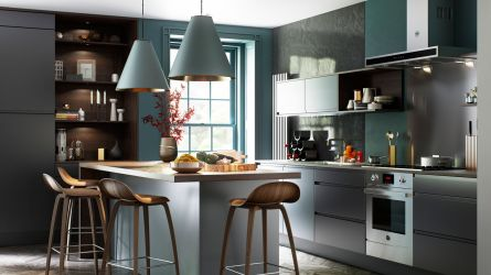 Aconbury Winter Teal & Graphite Handleless Kitchen