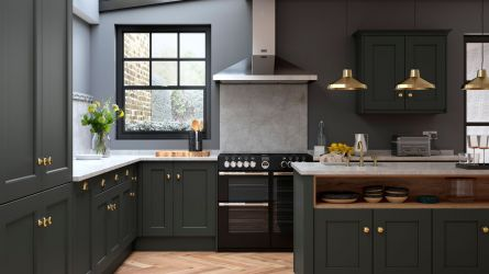 Allestree Beaded Bespoke Painted Kitchen in Slate Grey