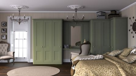 Bella Cambridge bedroom in garden green paintable vinyl finish