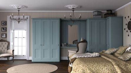 Bella Cambridge bedroom in topez blue paintable vinyl finish
