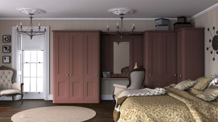 Bella Cambridge bedroom in Tuscan red paintable vinyl finish