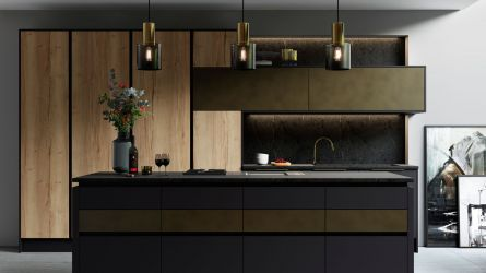 Cosdon Painted Kitchen in Matt Graphite & Tarnished Brass