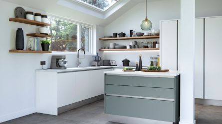 Cosdon Painted Kitchen in Matt White & Winter Teal