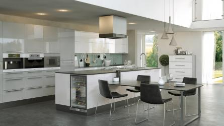 Firbeck Supergloss White & Light Grey Kitchen