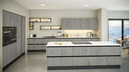 Venice style kitchen in London Concrete finish
