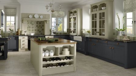 Tullymore style fitted kitchens in  Matt Olive & Mussel