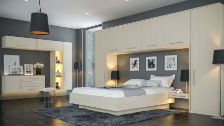 Bella Euroline style bedroom in Oakgrain Cashmere