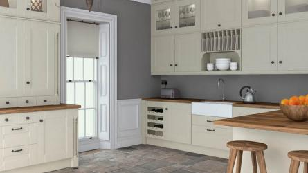 Warwick fitted Kitchen - Oakgrain mussel Finish