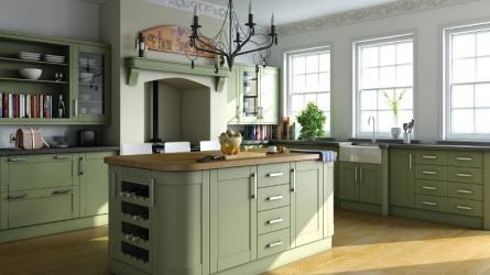 Shaker style kitchen units in paintable vinyl