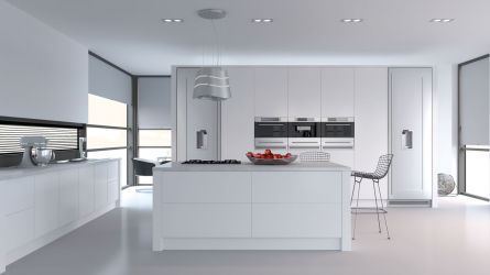 Venice style kitchen in porcelain white