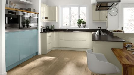 Remo Handleless Painted Kitchen in Almond and Chalk Blue