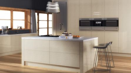 Zurfiz kitchen in Ultragloss Limestone