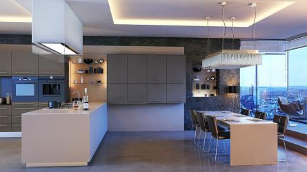 Zurfiz kitchen in Ultramatt Metallic Basalt & Cashmere