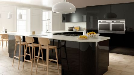 Zurfiz fitted kitchen in Ultragloss Black
