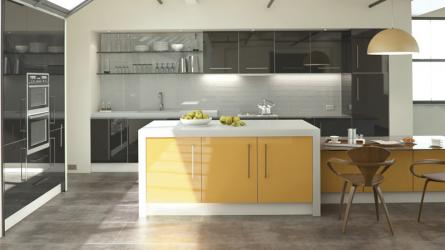 Zurfiz fitted kitchen in Ultragloss Black and Saffron