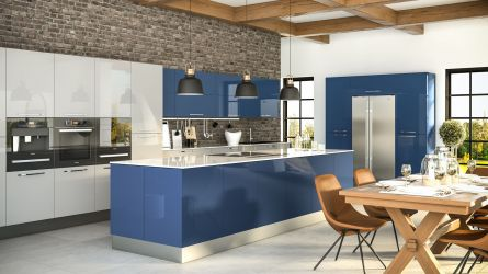 Zurfiz kitchen in Ultragloss Baltic Blue & Light Grey