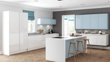 Welford Handleless Kitchen in Bright White and Sky Blue