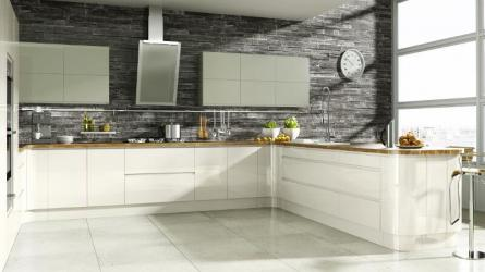 Welford Handleless Kitchen in Cream and Willow