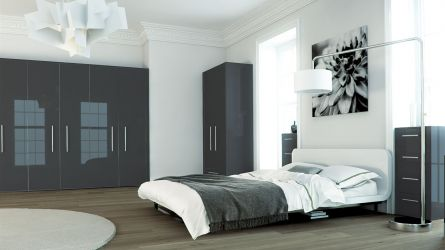 Zurfiz bedroom in a metallic anthracite finish