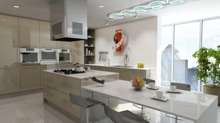 Gravity fitted kitchen in Gloss Metallic Beige