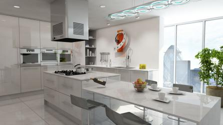 Gravity fitted kitchen in Gloss Light Grey