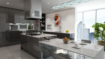 Gravity fitted kitchen in Gloss Metallic Anthracite