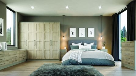 bella aldridge bedroom in matt pebble and halifax white oak finish
