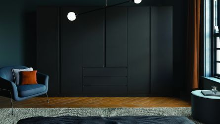 bella knebworth style bedroom in matt black finish.