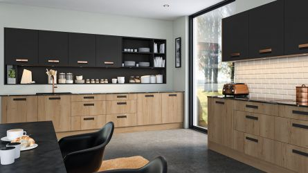 bella lazio style kitchen - halifax natural oak & matt graphite