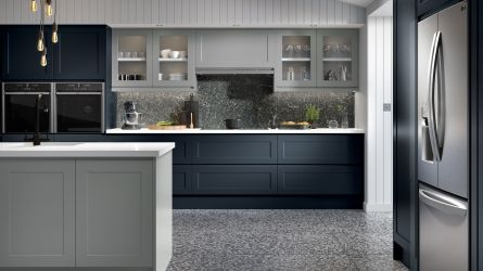Bella Elland style kitchen with a Matt Indigo Blue & Matt Dust Grey finish.