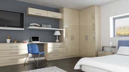 Unique Caraway bedroom in gloss ivory wardrobe doors