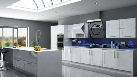 Unique Caraway kitchen in high gloss white