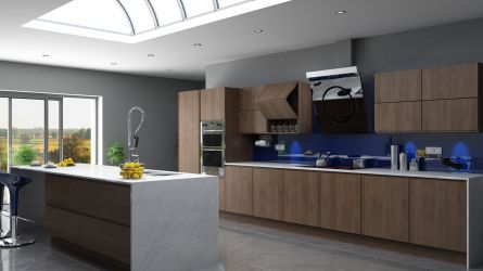 Stylish modern Kendal kitchen in a Opera Walnut finish.