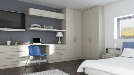 Severn bedroom with wardrobe and doors in Mussel vinyl finish
