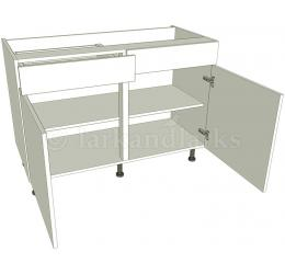 Sink kitchen base units double working drawer for Service void kitchen units