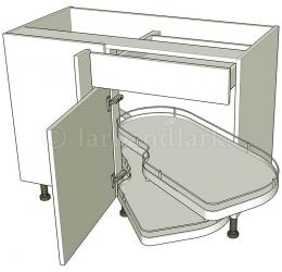 Variable corner drawerline carousel for Service void kitchen units