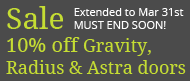 Sale of Gravity, Radius and Astra kitchen and bedroom doors