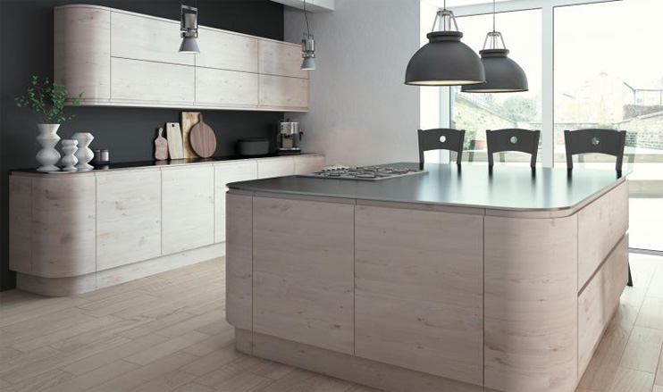 Malton Handleless Kitchen in Hemlock Nordic