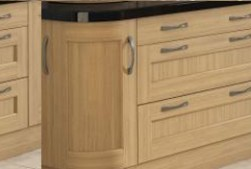 Wooden kitchen unit doors with traditional style handles