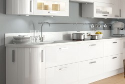 Kitchen with white high gloss units