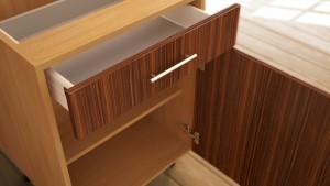Open kitchen unit drawer