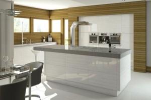 White handleless kitchen island
