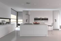 Modern kitchen with white gloss units