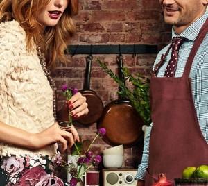 Couple in Marsala coloured kitchen