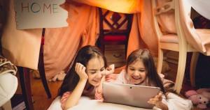 Girls using tablet