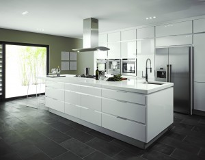 Modern kitchen with high gloss white units