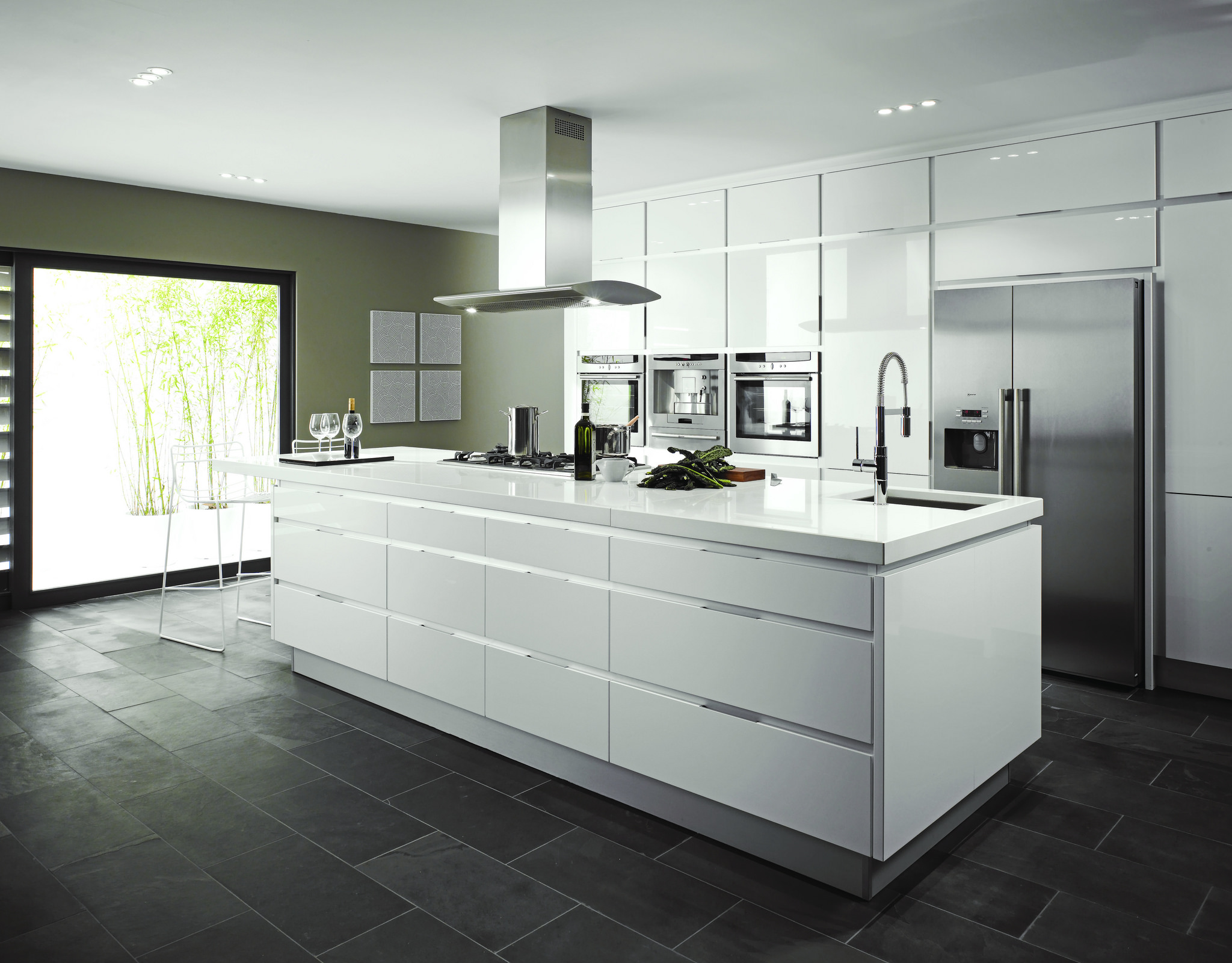 Modern kitchen with high gloss white units