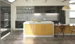 Stylish yellow kitchen units