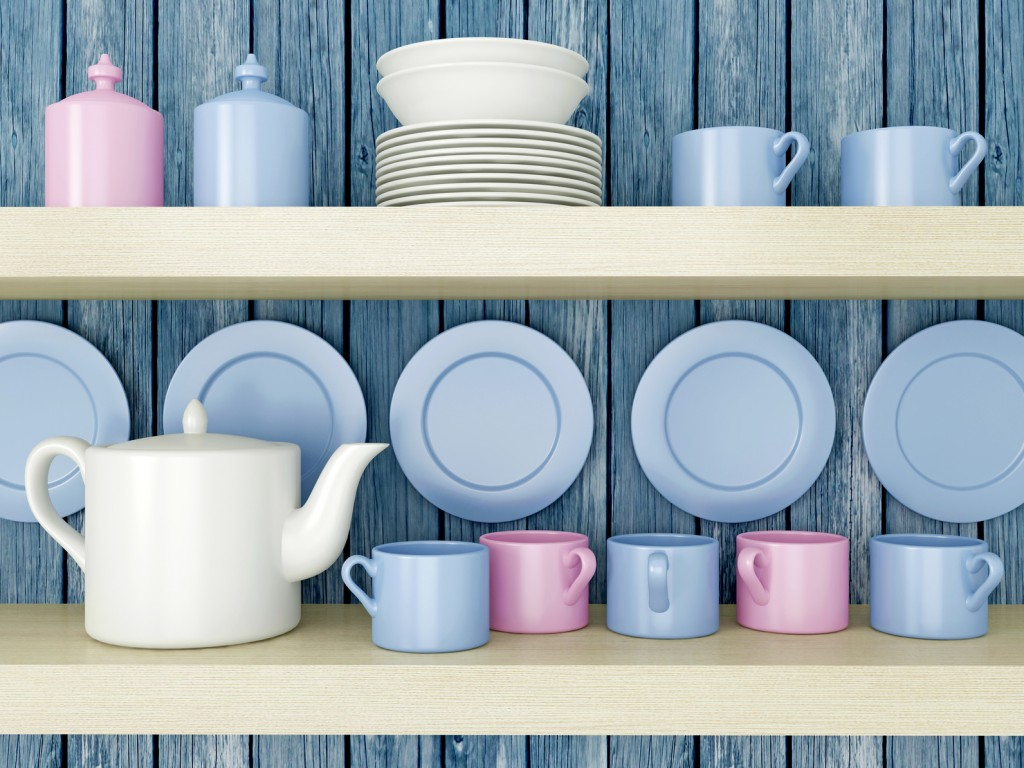 Kitchen shelving with blue and pink crockery